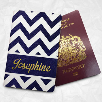 Ribbon Pattern Passport Cover Passport Holder with FREE Name Printing (BBS006)