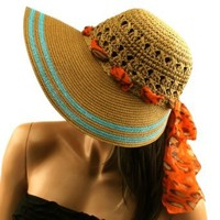 "Amazon.com: Summer Wide 4-3/4"" Brim Floppy Bucket Visor Sun Hat Cap Scarf Tie Brn Turquoise: Clothing"