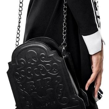 """Sarah Sins"" RIP Handbag by Killstar (Black)"