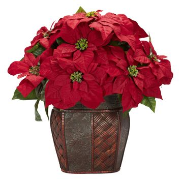 Artificial Flowers -Poinsettia With Decorative Vase Silk Flowers