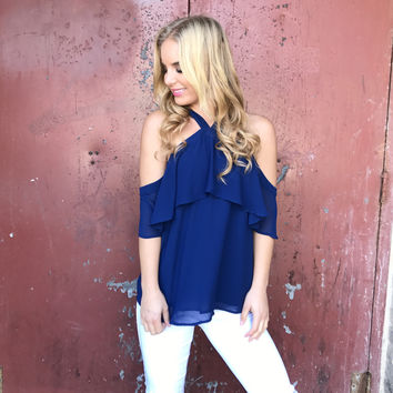 Sail Off Shoulder Navy Blouse