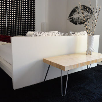 The Austere Coffee Table, a handcrafted plywood laminate coffee table, mid-century modern, minimalist, natural wood, hairpin legs