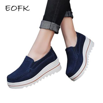 EOFK New Spring Moccasin Women's Flats Suede Genuine leather Shoes Lady Loafers Slip On Platform Woman Moccasins