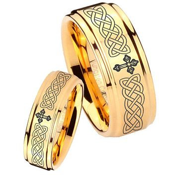 His Her Glossy Step Edges Celtic Cross 14K Gold IP Tungsten Wedding Rings Set