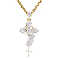 Praying Hand Rosary Holy Cross Religious Bling Pedant Necklace