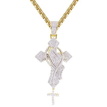 Gold Finish Bling Rosary Praying Hand Holy Cross Silver Pendant