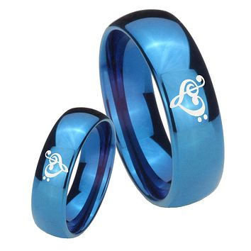 His Hers Mirror Blue Dome Music & Heart Tungsten Carbide Wedding Rings Set