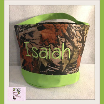 Lime Green Camo Easter Buckets  personalized Easter Basket , Chevron Bucket , Chevron Tote ~~Ready to Ship~~