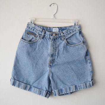 90s Calvin Klein High Waisted Cuffed Denim Shorts // Size 6 // Classic Summer Festival Hipster // Grunge Revival Style
