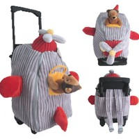 2 Item Bundle: Kreative Kids 8067 Red & Gray Airplane Plush Rolling Backpack + Free Activity Book Gift