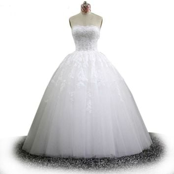 Strapless Backless White lace Wedding Dress Lace Appliques Custom Made Wedding Ball Gown