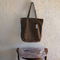 BERYLL 100% Brown Suede Leather Double Handle Handbag Tote Magnetic Closure NWT
