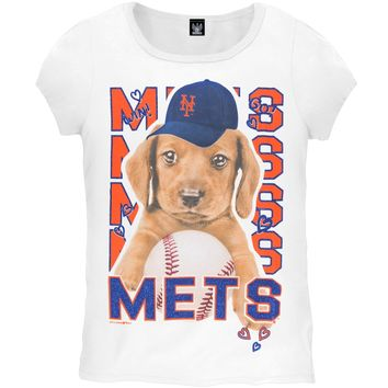 New York Mets - Puppy Dog White Girls Youth T-Shirt - Youth