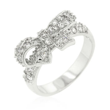 Lori Delicate Ribbon Bow Fashion Ring | 1.5ct | Cubic Zirconia | Silver