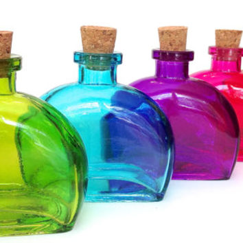 6 Curved Colored Bottles- 8.5 Ounce, 250ML Bottle with Cork for Oil and Vinegar, DIY Favors, Bath Salt, Reed Diffuser, Sessonings