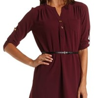 Belted Tunic Shirt Dress by Charlotte Russe - Oxblood