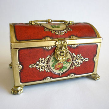 Vintage Tin Box, English Victorian Roses Trinket Box, Treasure Chest