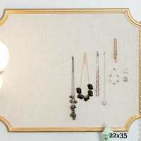 Framed 22x35 Scalloped Cork Bulletin Board Pinboard