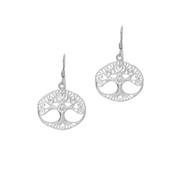 Silver with Rhodium Finish Shiny 19.3X30mm Oval TrEe Of Life Stencil Design Drop Earring with J HoOk