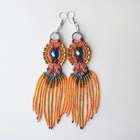 Bohemian long fringe micro macrame earrings - Orange Tangerine Teal Gold Indian Unique Beadwork