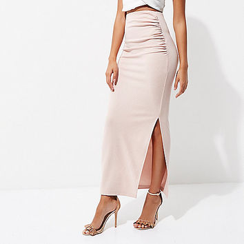 Light pink ruched side maxi bodycon skirt - Maxi Skirts - Skirts - women