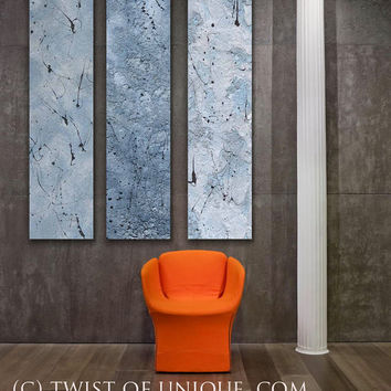 Blue Metal Abstract Paintings, - 3 panel CUSTOM abstract Wall Art, Home decor, - Steel, silver, Metal, blue steel, Concrete, Stone