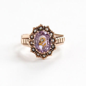 Antique 10k Rose Gold Amethyst , Diamond & Seed Pearl Flower Ring - Size 4 3/4 Victorian Rose Of Sharon Purple Gemstone Vintage Fine Jewelry