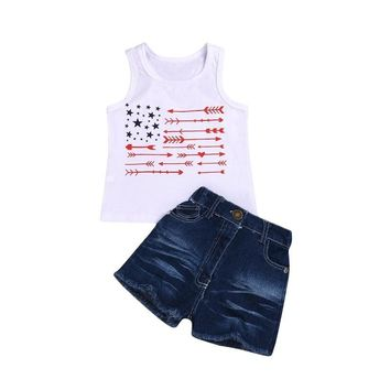 Arrow Flag Outfit Denim Tank Top And Shorts