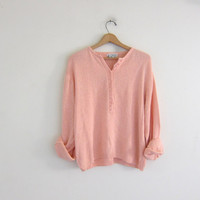 vintage oversized pale peach henley sweater // slouchy SILK button sweater pullover / women's size L