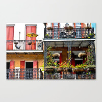 French Quarter Balcony Wrought Iron Flowers Cityscape  Fine Art Photography Travel New Orleans Wall Decor Red Pink Home Accent Gift Under 50