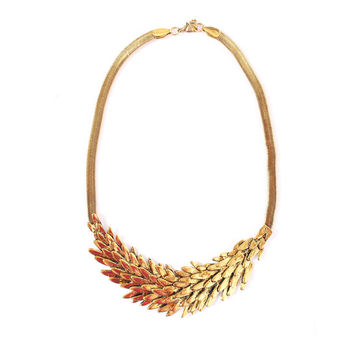 Gold statement necklace, gold feather necklace, gold bib necklace