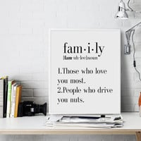 DEFINITION OF FAMILY Funny Wall Art Printable Definition Name Definition Funny Poster Typography Print Definition Print Definition Poster