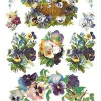 Pansy Wreath Victorian Stickers