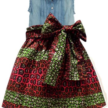 Abina African Print Full Skirt for Little Girls (Pink/Green Leopard Print)