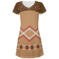 DCCKIS3 Halloween Native American Pattern All Over Juniors V-Neck Dress