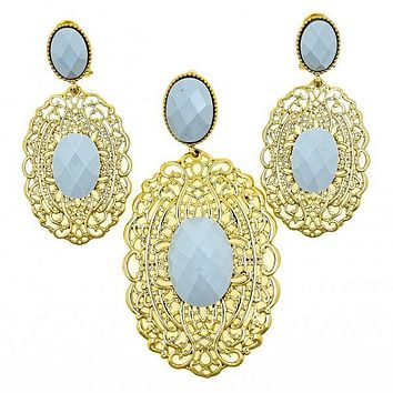 Gold Layered 10.91.0340 Earring and Pendant Adult Set, Filigree Design, with Blue Topaz Opal, Turquoise Enamel Finish, Golden Tone