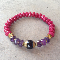 Onyx, Amethyst, and Cherry Jade bracelet
