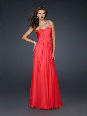 One shoulder Layered Pleated Bust Beaded on Strap Open Back Chiffon Prom Dress PD1797