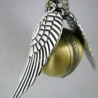 Harry Potter Golden Snitch Enchanted Steampunk Double Sided Wings Balls Pocket Watch Necklace