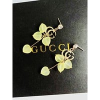 GUCCI 925 Silver Needle Popular Women Diamond Double G Candy Color Heart Pendant Earrings Accessories Jewelry Pink