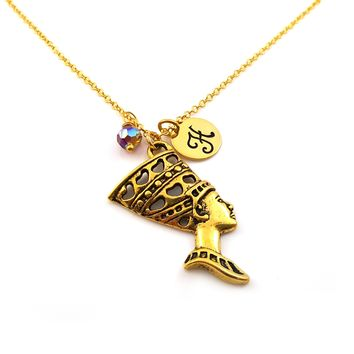 Gold Nefertiti Egyptian Goddess Personalized Necklace