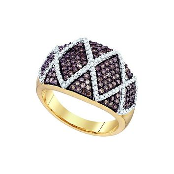 10k Yellow Gold Womens Cognac-brown Diamond Wide Striped Cocktail Band Ring 1.00 Cttw