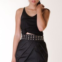 BLACK STUDDED PLEATED SKIRT @ KiwiLook fashion