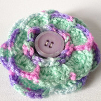Green Flower Brooch, Green and Lilac Crochet Flower, Hand Crochet Jewellery, Green Purple Yarn Flower, Green Flower Pin, Purple Button