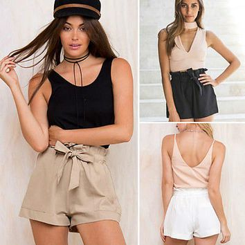 Summer casual shorts with self tie front & elastic waist  Sizes:   S - XL