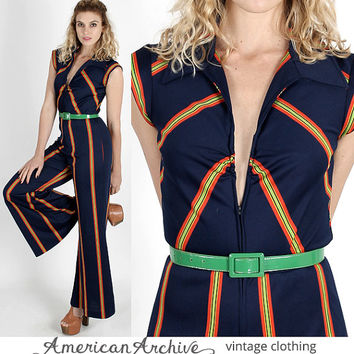 da0e9351743 vintage 70s Navy Striped Maxi Disco Bell Bottom Draped Pants Cocktail Party  Jumpsuit