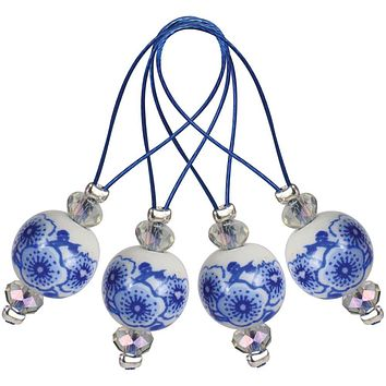 Knitter's Pride Zooni Stitch Markers with colored beads - Blue Jasmine - 12 Pack