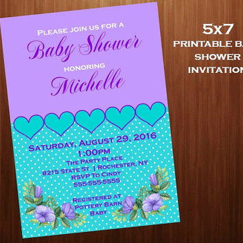 Flower Baby Shower Invitations, Floral, Hearts, purple and Aqua, Printable digital,  Baby Shower Invitations, 5x7 baby shower invitation