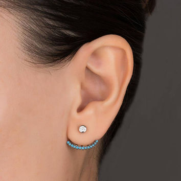 Turquoise Ear Jacket • Ear Jacket Earring • Front Back Earrings • Turquoise Ear Cuff • Turquoise Earrings Silver • 0100EM