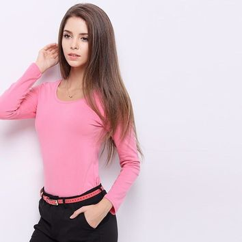 Women Casual Solid Color Stretch Long Sleeve Scoop Neck blouse top